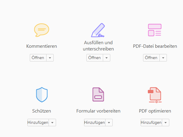 Auswahl des Kommentieren Werkzeuges aus den Werkzeugen des Acrobat Readers