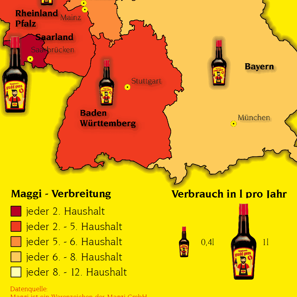 Legende Maggi-Karte mit Verbreitung pro Haushalt und Verbrauch pro Jahr