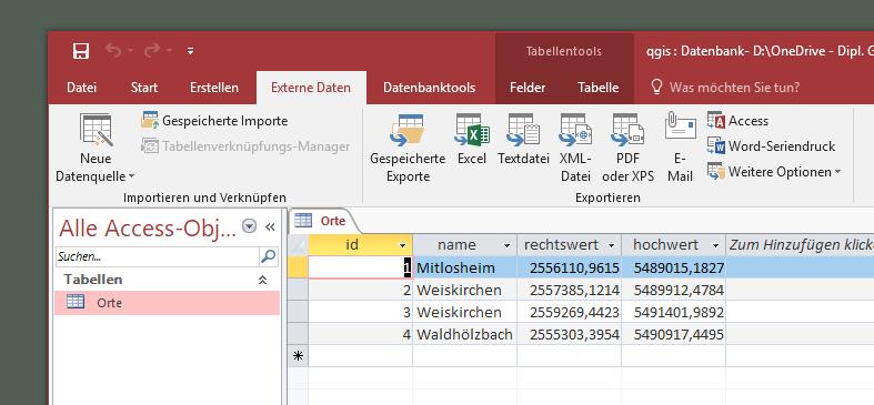 Beispieldaten in Access