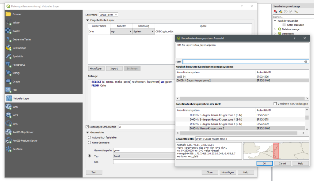 QGIS Virtuellen Layer erstellen