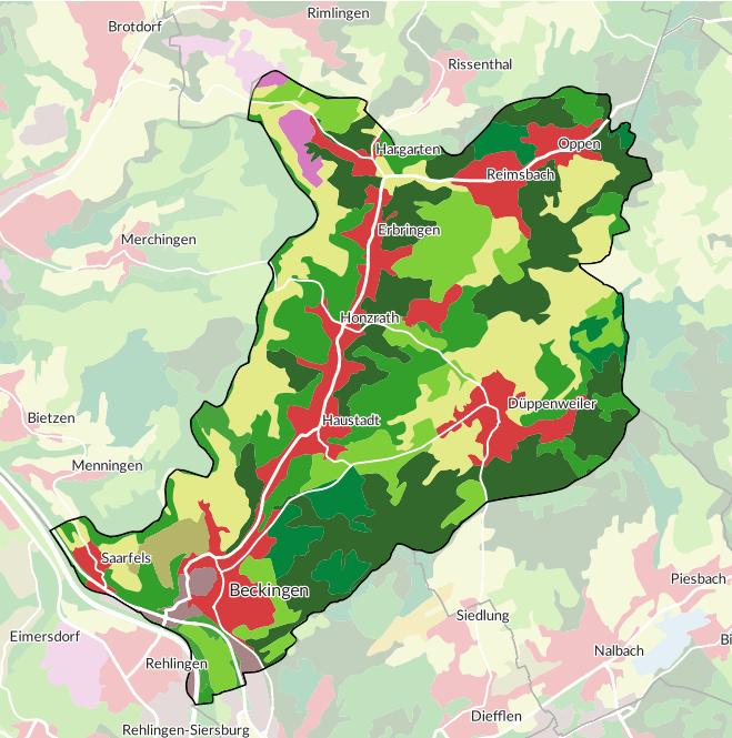 Karte der Flächennutzung in Beckingen/Saar